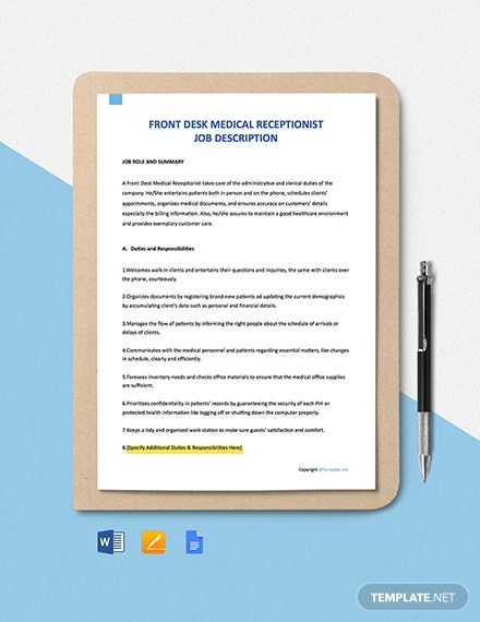 Free Front Desk Medical Receptionist Job Description Template