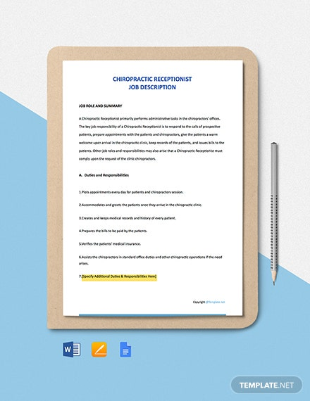 Free Chiropractic Receptionist Job Description Template