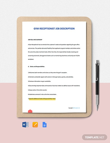 Free Gym Receptionist Job Description Template