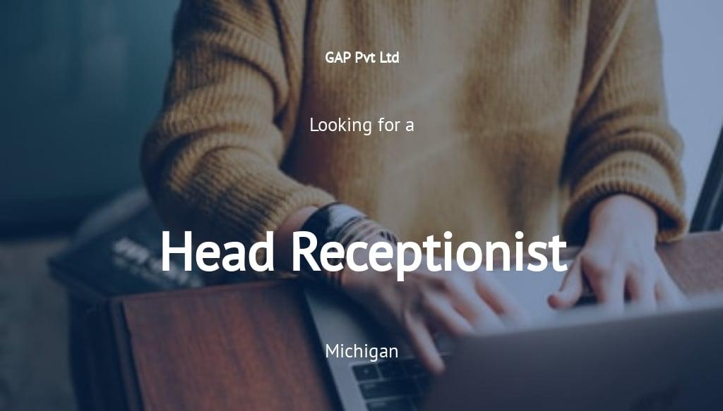 Head Receptionist Job Ad/Description Template