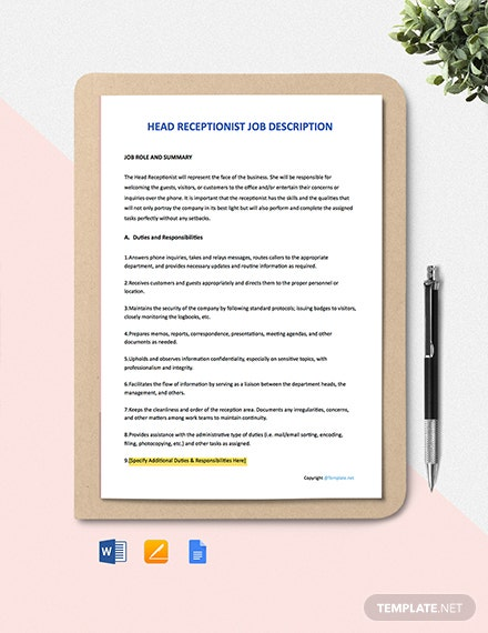 Free Head Receptionist Job Ad/Description Template