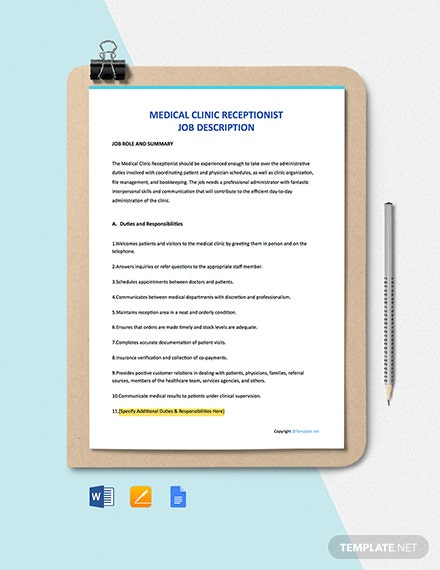 Free Medical Clinic Receptionist Job Description Template