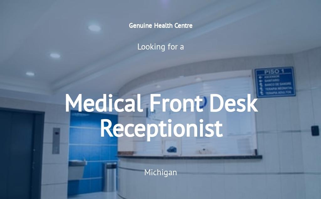 Medical Front Desk Receptionist Job Ad/Description Template