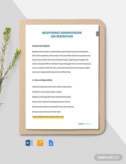 Free Receptionist Administrator Job Ad/Description Template