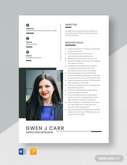 Service Desk Supervisor Resume Template