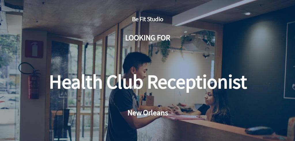 Health Club Receptionist Job Description Template