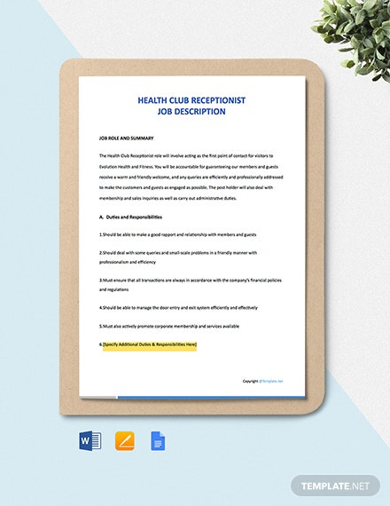 Free Health Club Receptionist Job Description Template