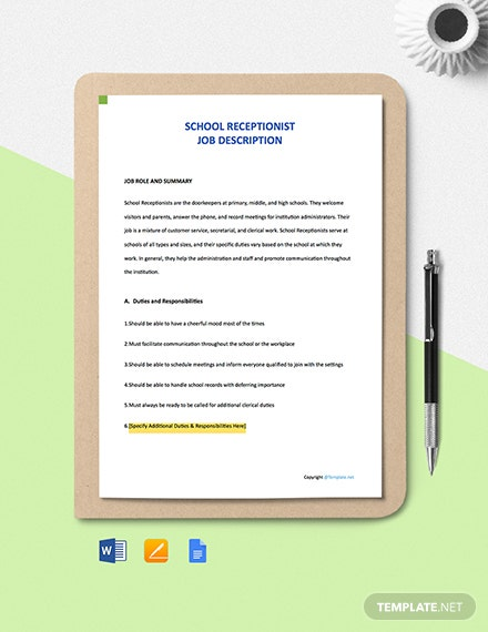 Free School Receptionist Job Ad/Description Template