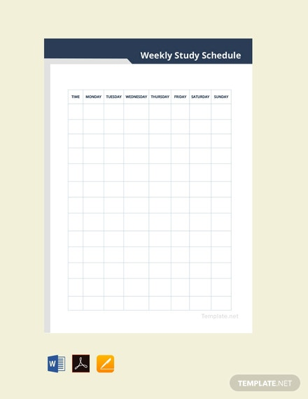Free Weekly Study Schedule Template