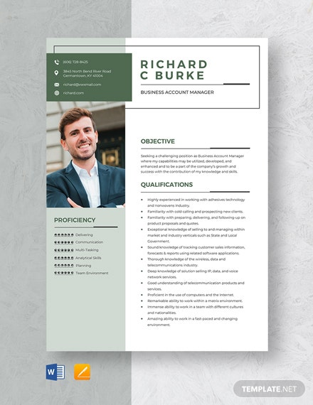 Business Account Manager Resume Template
