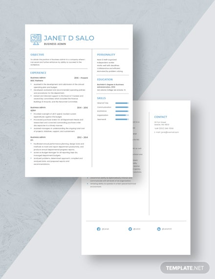 Business Admin Resume Download