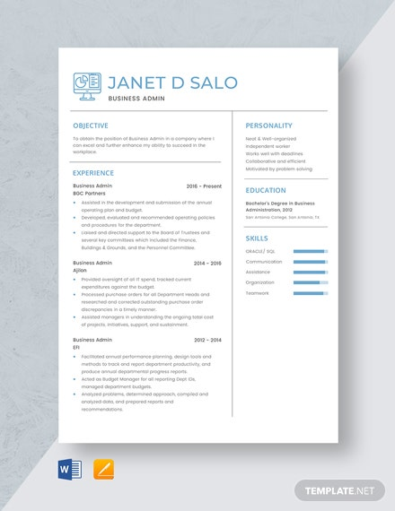 Business Admin Resume Template