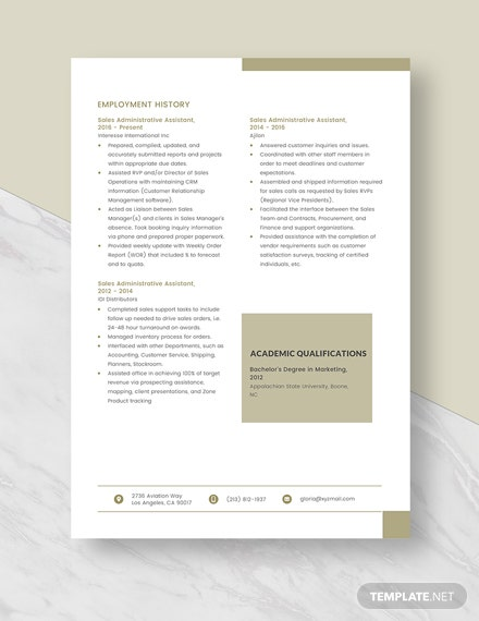 Sales Administrative Assistant Resume Template