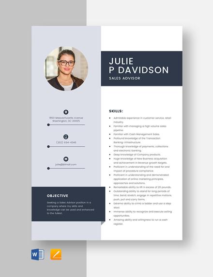 Sales Advisor Resume Template