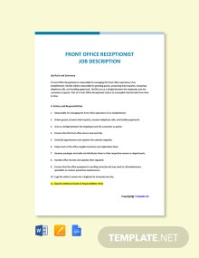Free Front Office Receptionist Job Ad/Description Template