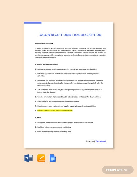 Free Salon Receptionist Job Description Template