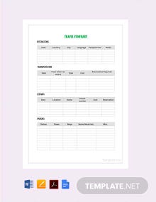 Free Sample Travel Itinerary Template