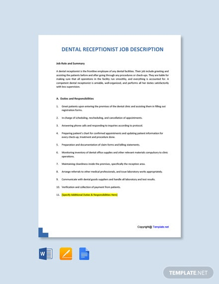 Free Dental Receptionist Job Description Template