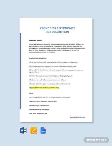 Free Front Desk Receptionist Job Description Template