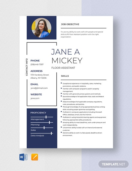 Floor Assistant Resume Template