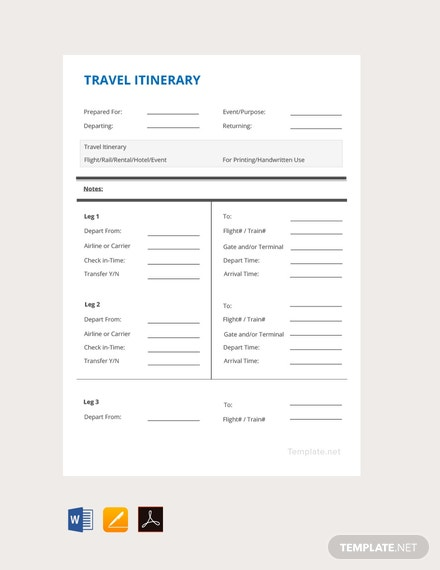 Free Simple Travel Itinerary Template