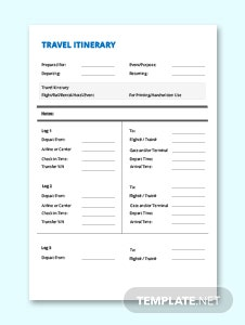 Simple Travel Itinerary Template