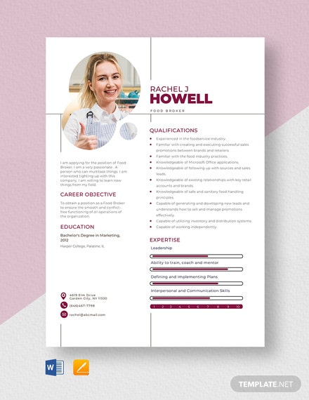 Food Broker Resume Template