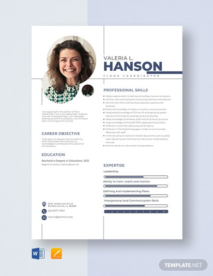 Floor Coordinator Resume Template