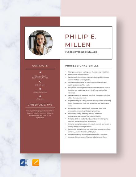 floor covering installer resume template