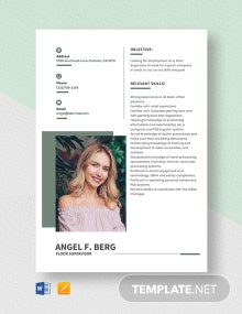 Floor Supervisor Resume Template