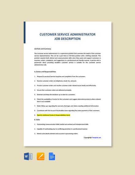 Free Customer Service Administrator Job Description Template