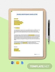Free School Receptionist Cover Letter Template
