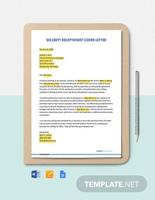 Free Security Receptionist Cover Letter Template