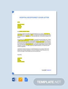 Free Hospital Receptionist Cover Letter Template