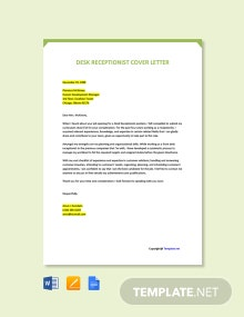 Free Desk Receptionist Cover Letter Template
