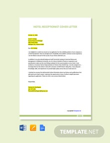 Free Hotel Receptionist Cover Letter Template