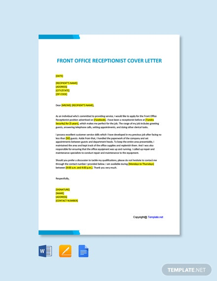 Free Front Office Receptionist Cover Letter Template