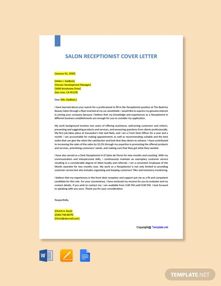 Free Salon Receptionist Cover Letter Template
