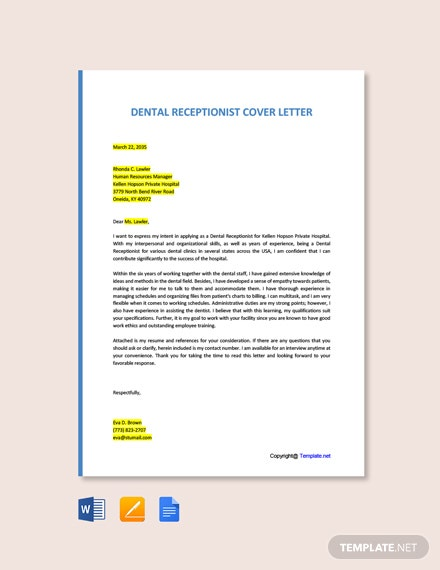 Free Dental Receptionist Cover Letter Template