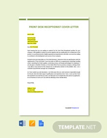 Free Front Desk Receptionist Cover Letter Template
