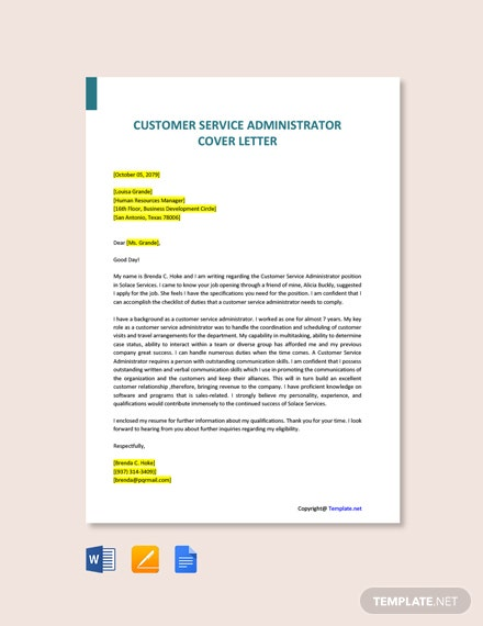 Free Customer Service Administrator Cover Letter Template
