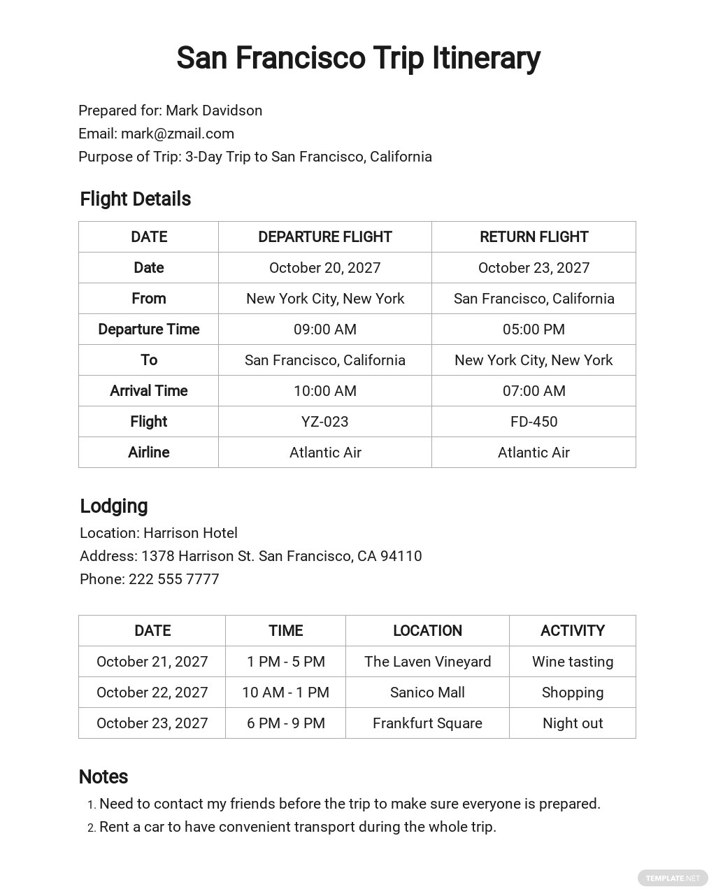 Free Trip Itinerary Template