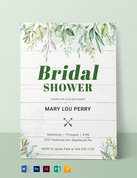 Wooden Bridal Shower Invitation Template