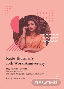 Work Anniversary Invitation Template