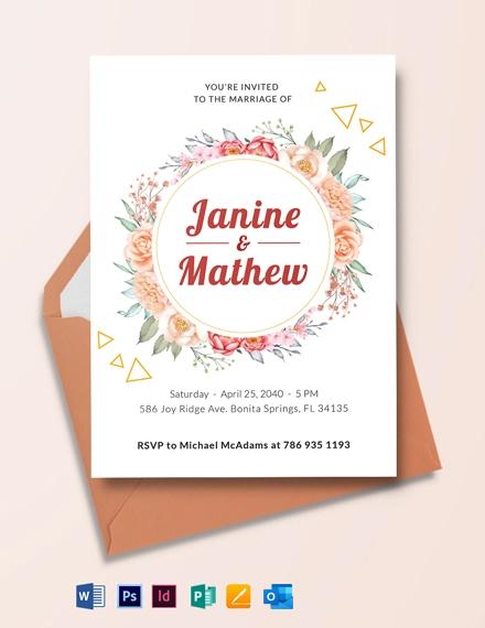 Wreath Flower Wedding Invitation Template