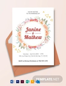 Wreath Flower Wedding Invitation Template