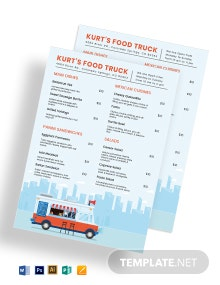 Food Truck Menu Board Template