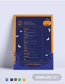 Halloween Cocktail Menu Template