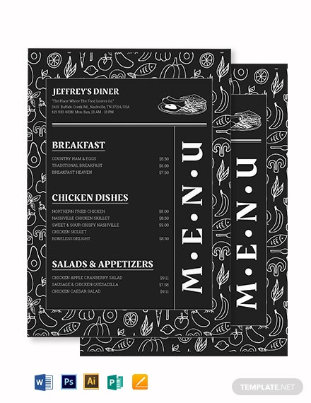 hand drawn chalkboard menu template  1x