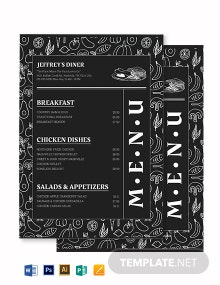 Hand Drawn Chalkboard Menu Template